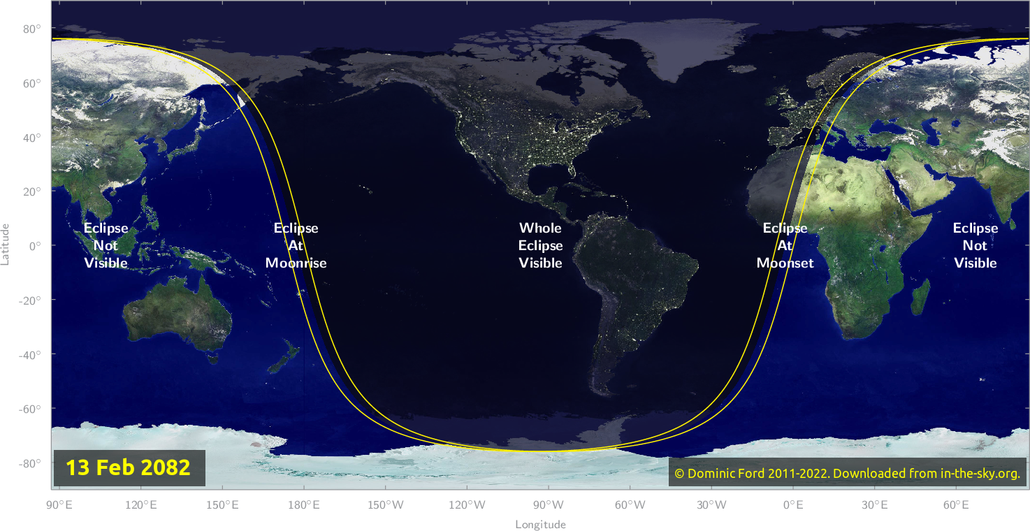 Map of where the eclipse of February 2082 will be visible.