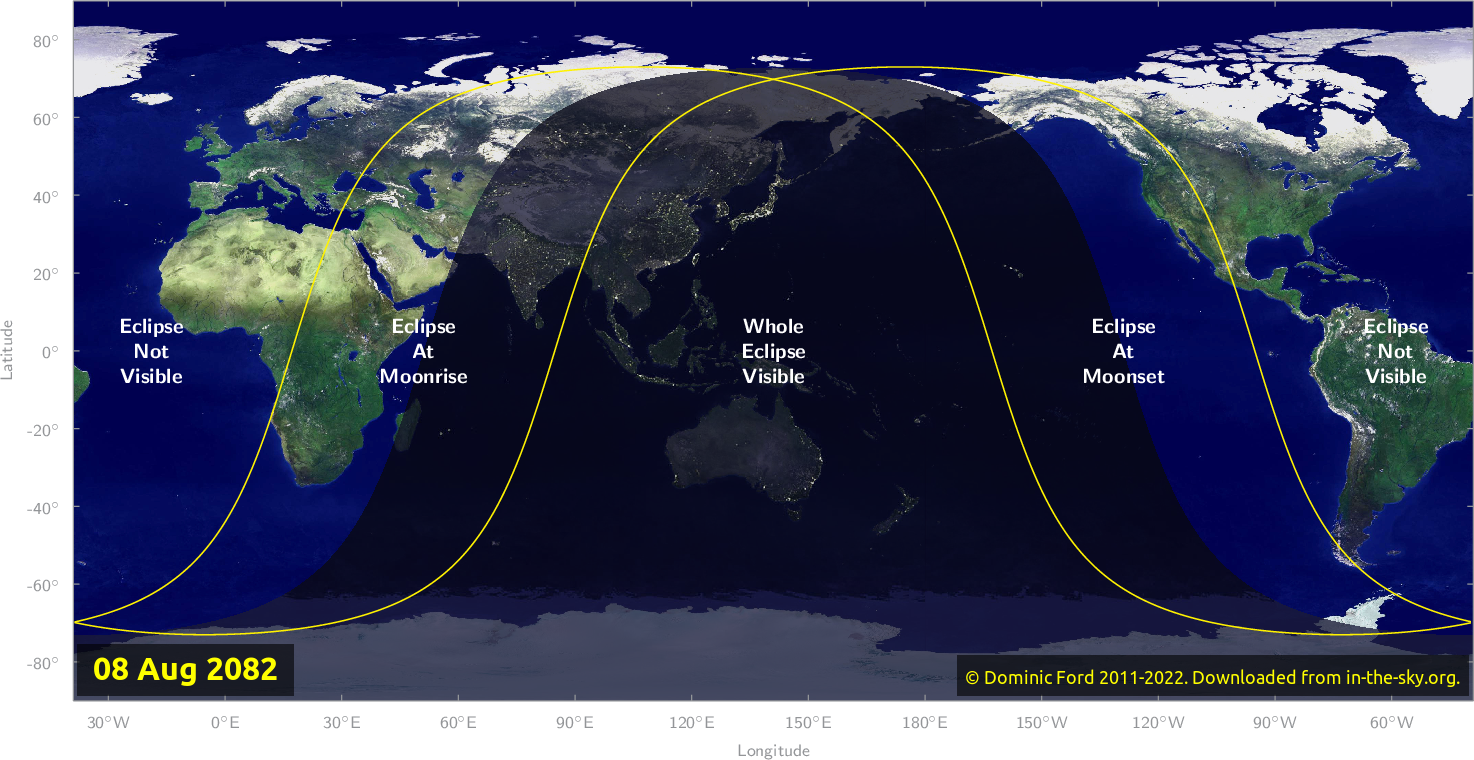 Map of where the eclipse of August 2082 will be visible.
