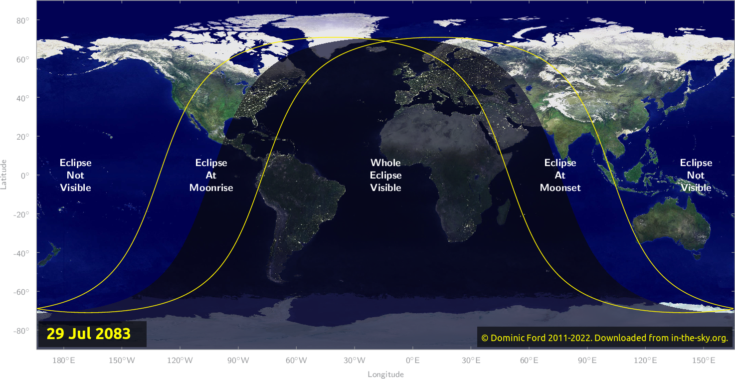 Map of where the eclipse of July 2083 will be visible.
