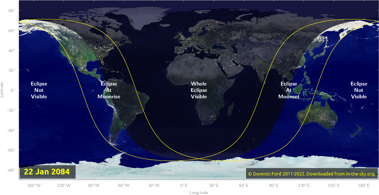Map of where the eclipse of January 2084 will be visible.