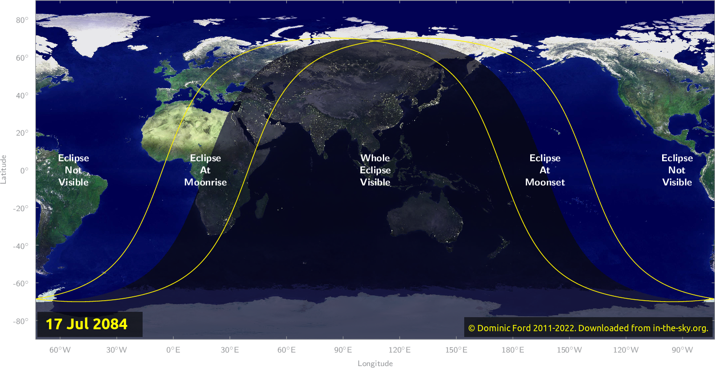 Map of where the eclipse of July 2084 will be visible.