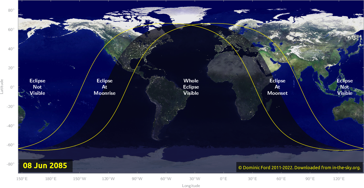 Map of where the eclipse of June 2085 will be visible.