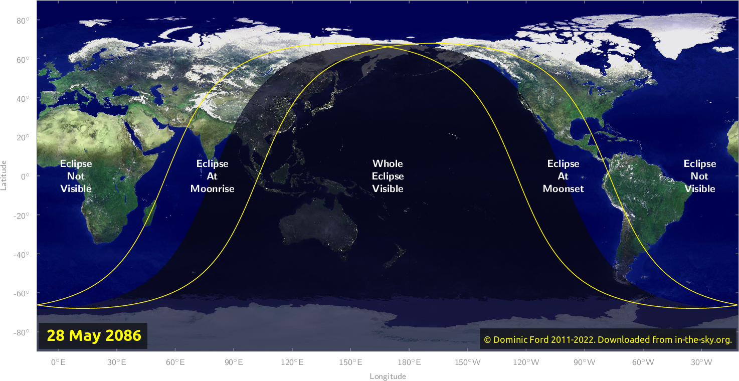 Map of where the eclipse of May 2086 will be visible.