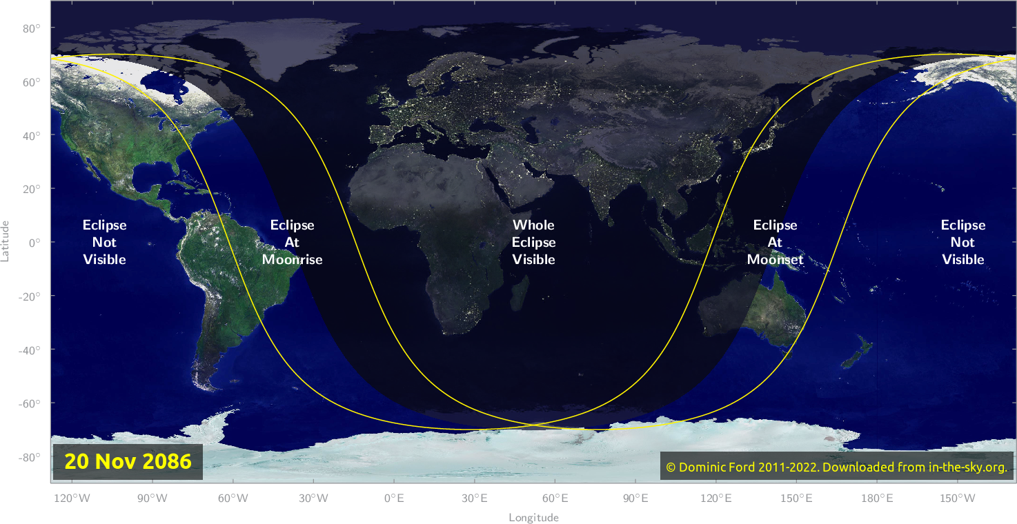 Map of where the eclipse of November 2086 will be visible.