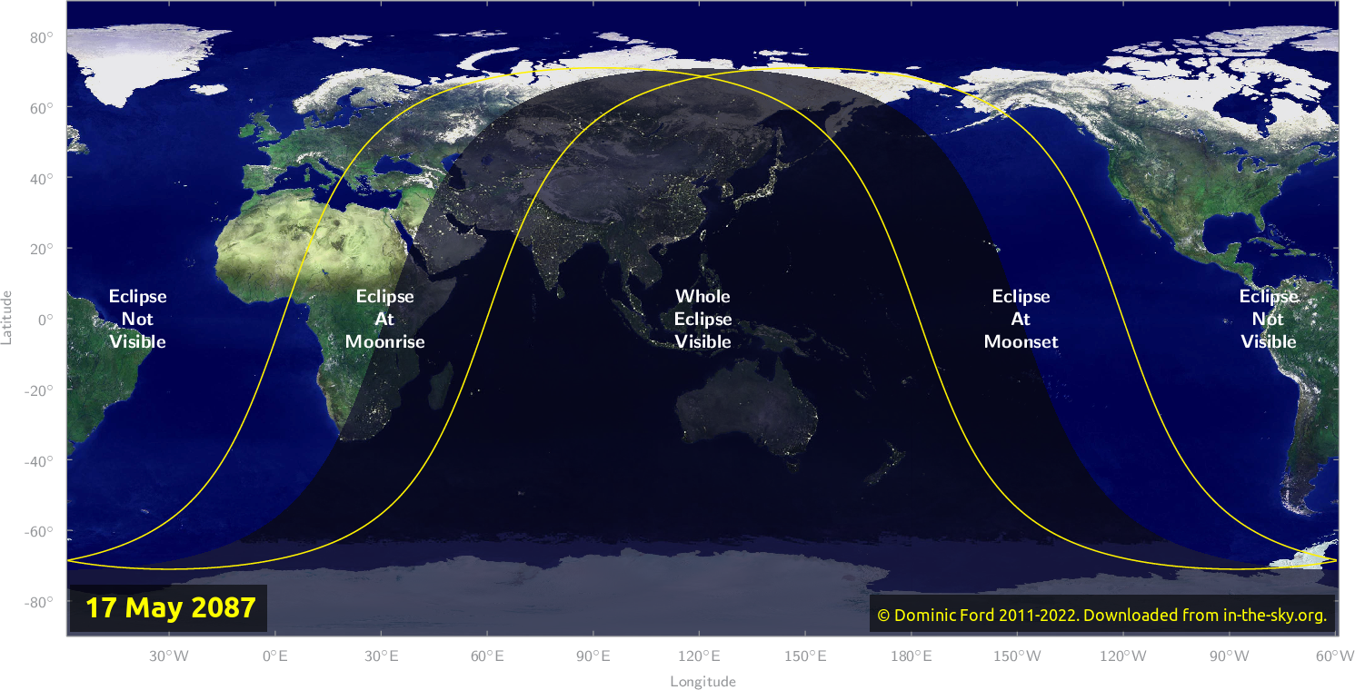 Map of where the eclipse of May 2087 will be visible.