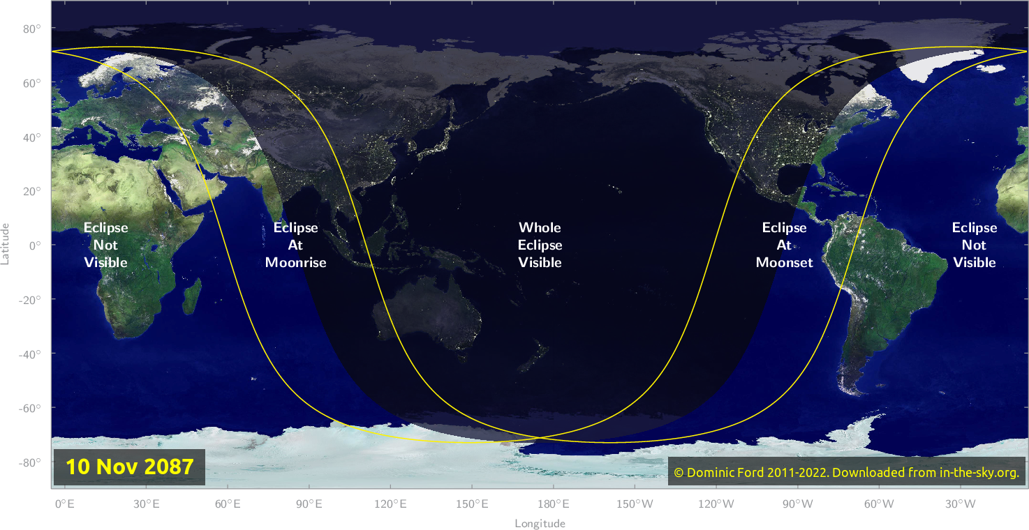 Map of where the eclipse of November 2087 will be visible.