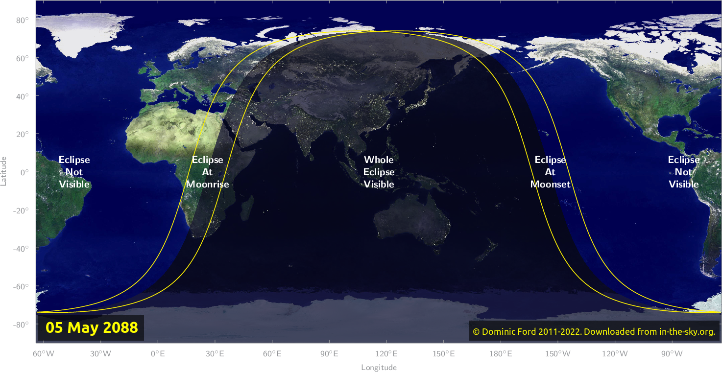 Map of where the eclipse of May 2088 will be visible.