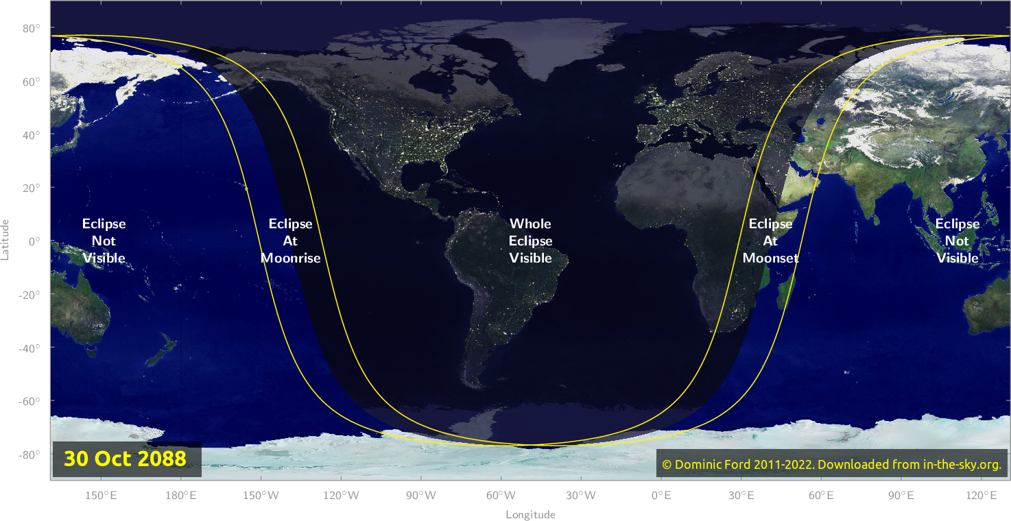 Map of where the eclipse of October 2088 will be visible.