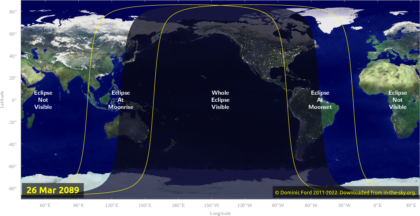 Map of where the eclipse of March 2089 will be visible.