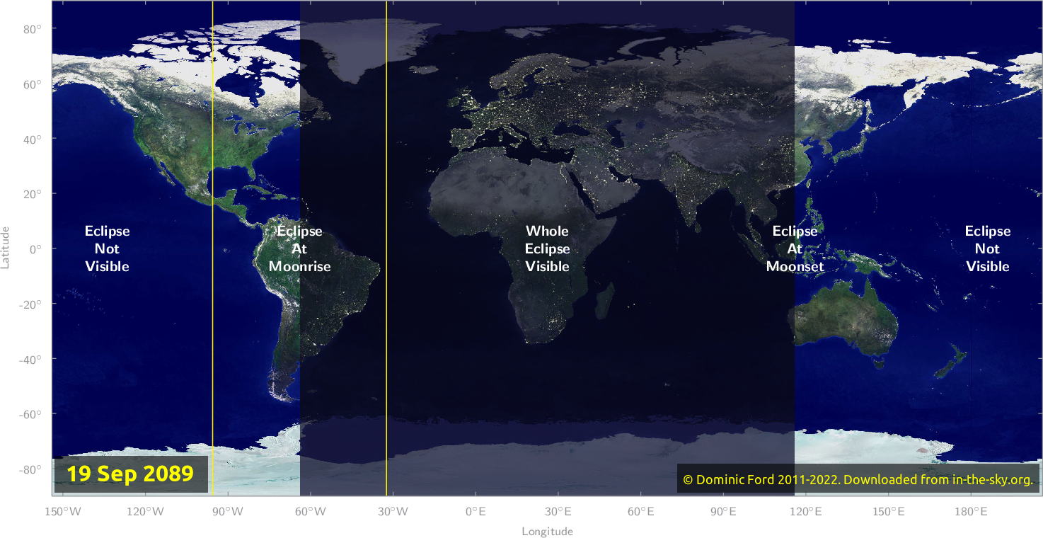 Map of where the eclipse of September 2089 will be visible.