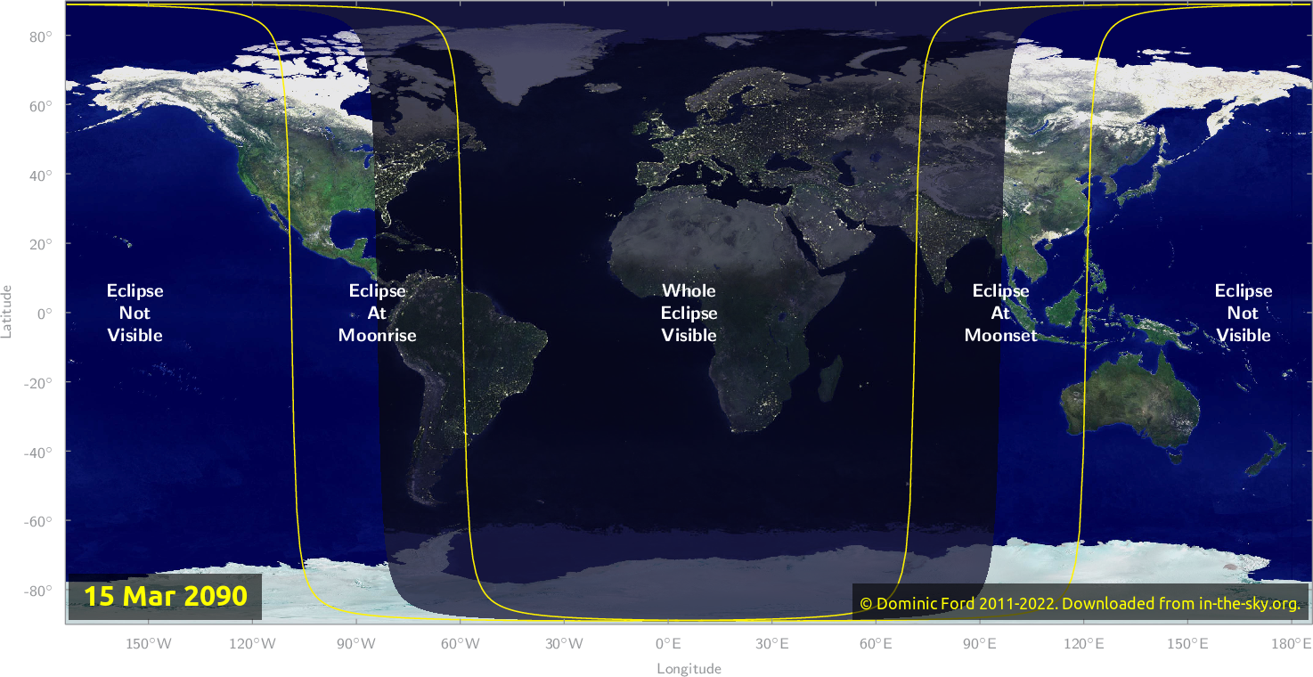 Map of where the eclipse of March 2090 will be visible.