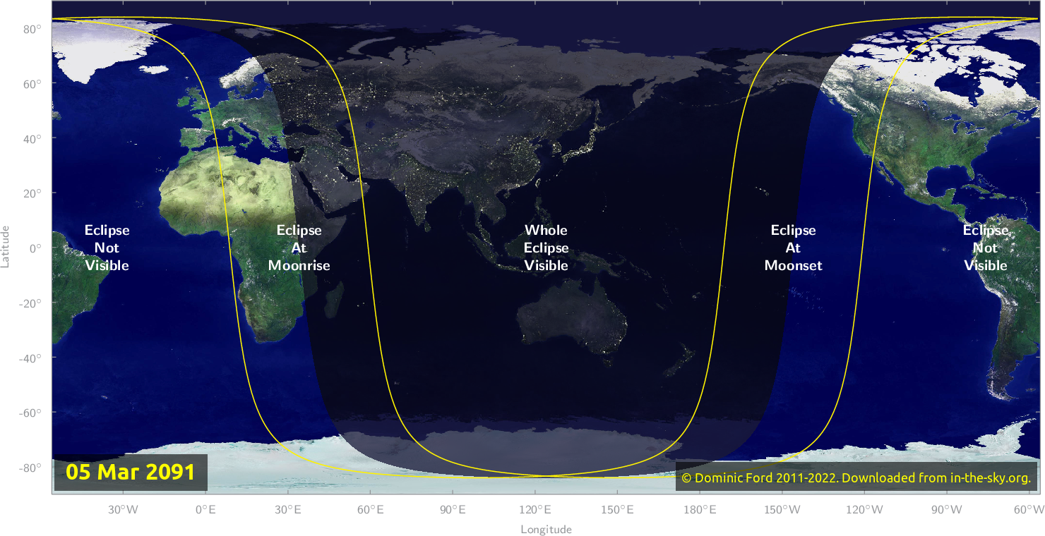 Map of where the eclipse of March 2091 will be visible.