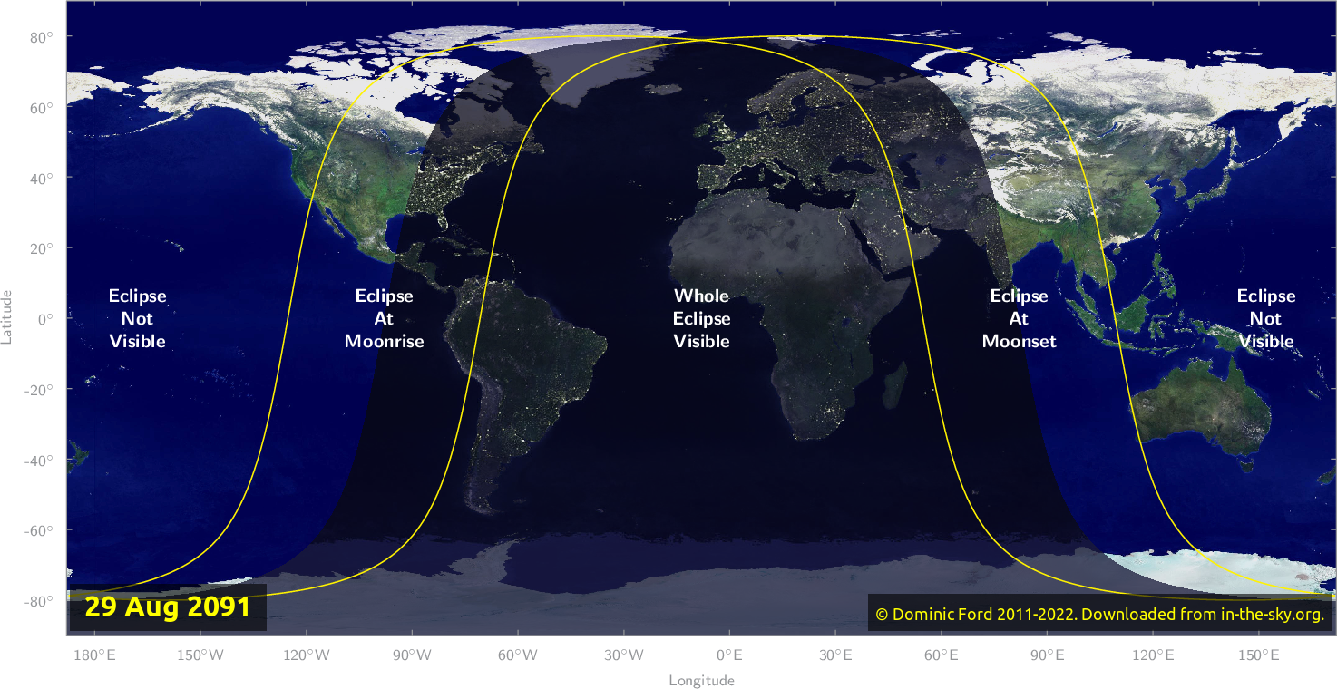 Map of where the eclipse of August 2091 will be visible.