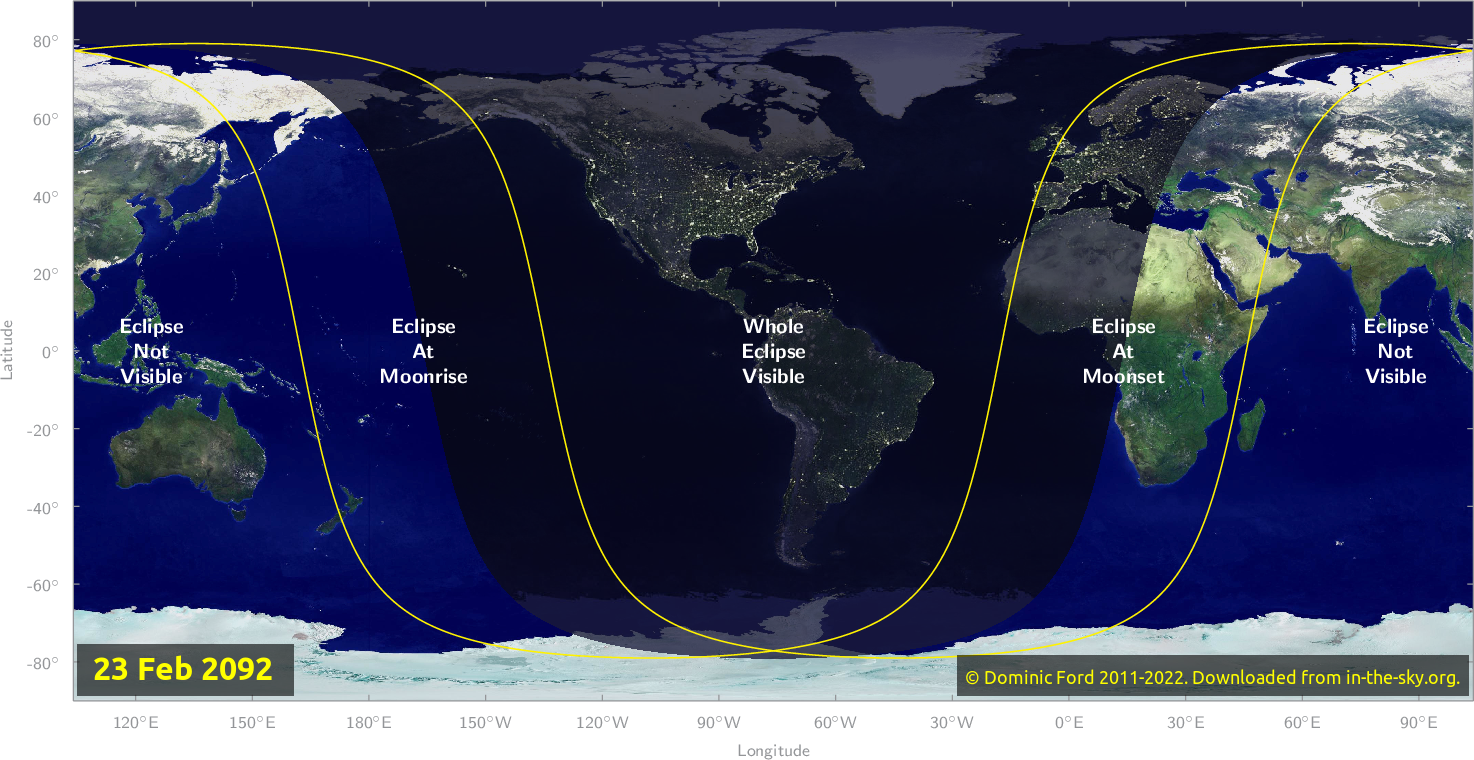 Map of where the eclipse of February 2092 will be visible.