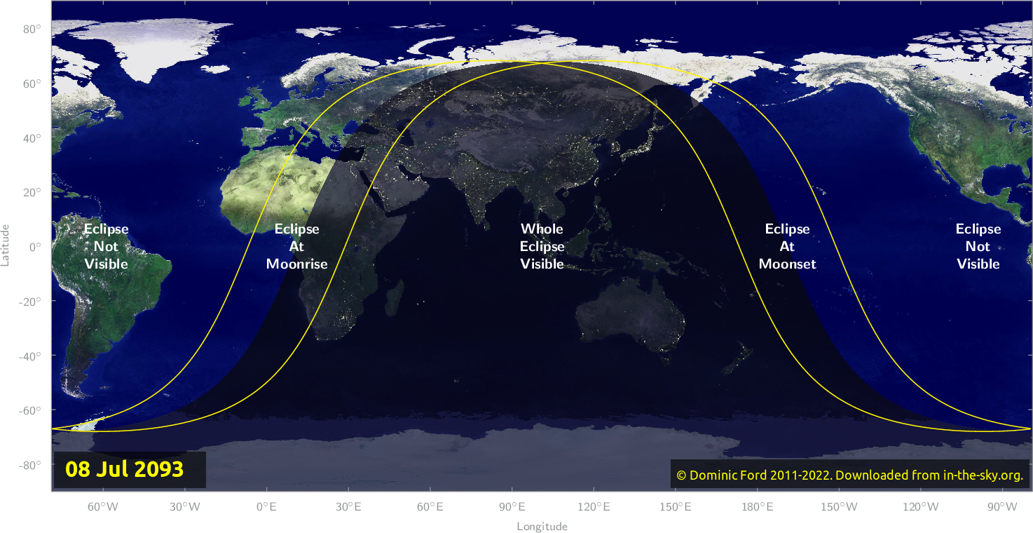Map of where the eclipse of July 2093 will be visible.