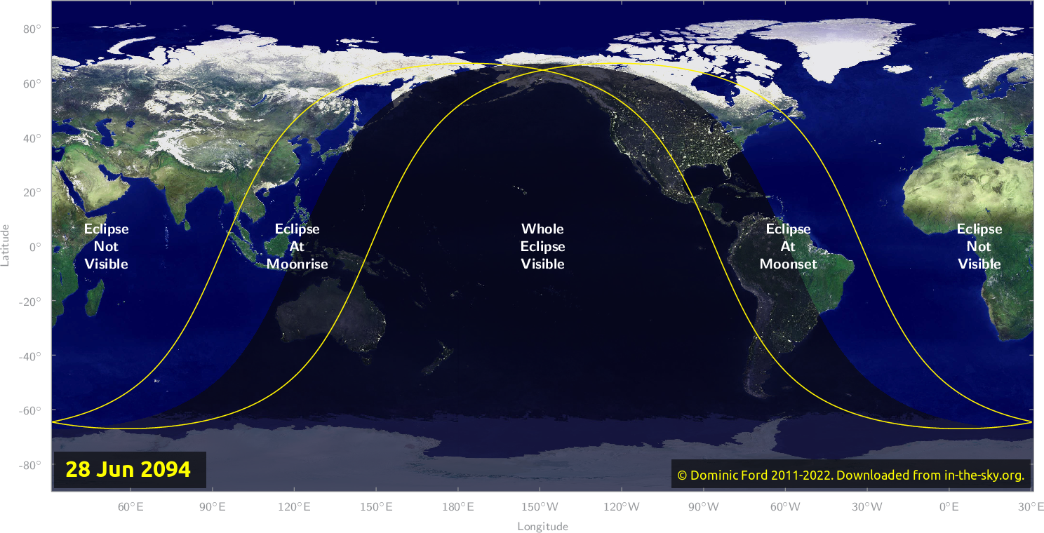 Map of where the eclipse of June 2094 will be visible.