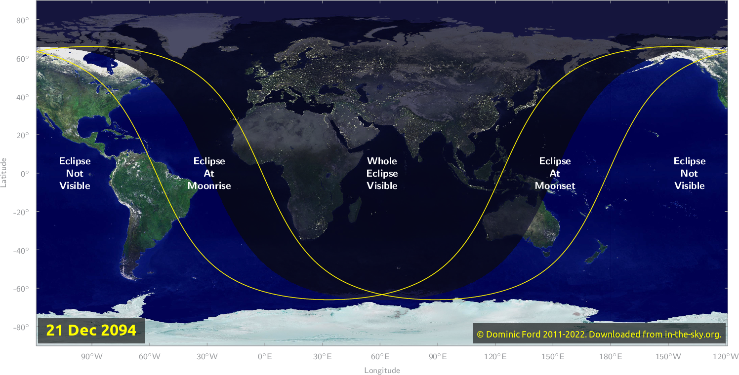 Map of where the eclipse of December 2094 will be visible.