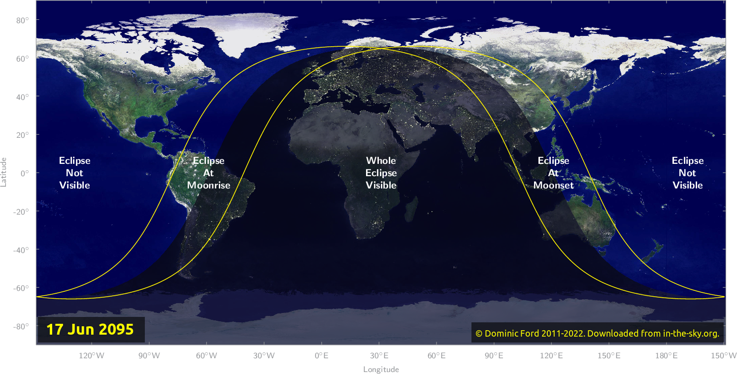Map of where the eclipse of June 2095 will be visible.