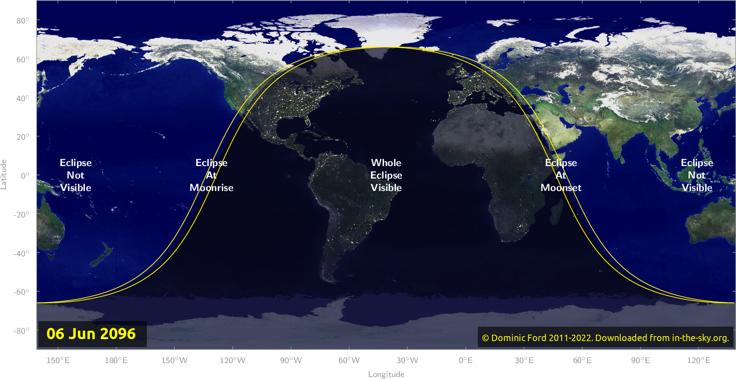 Map of where the eclipse of June 2096 will be visible.