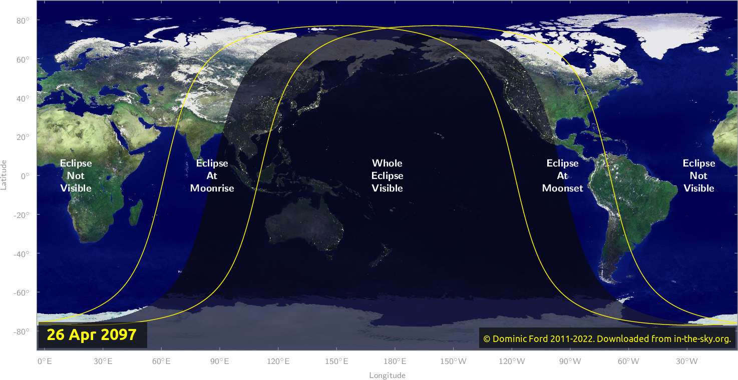 Map of where the eclipse of April 2097 will be visible.