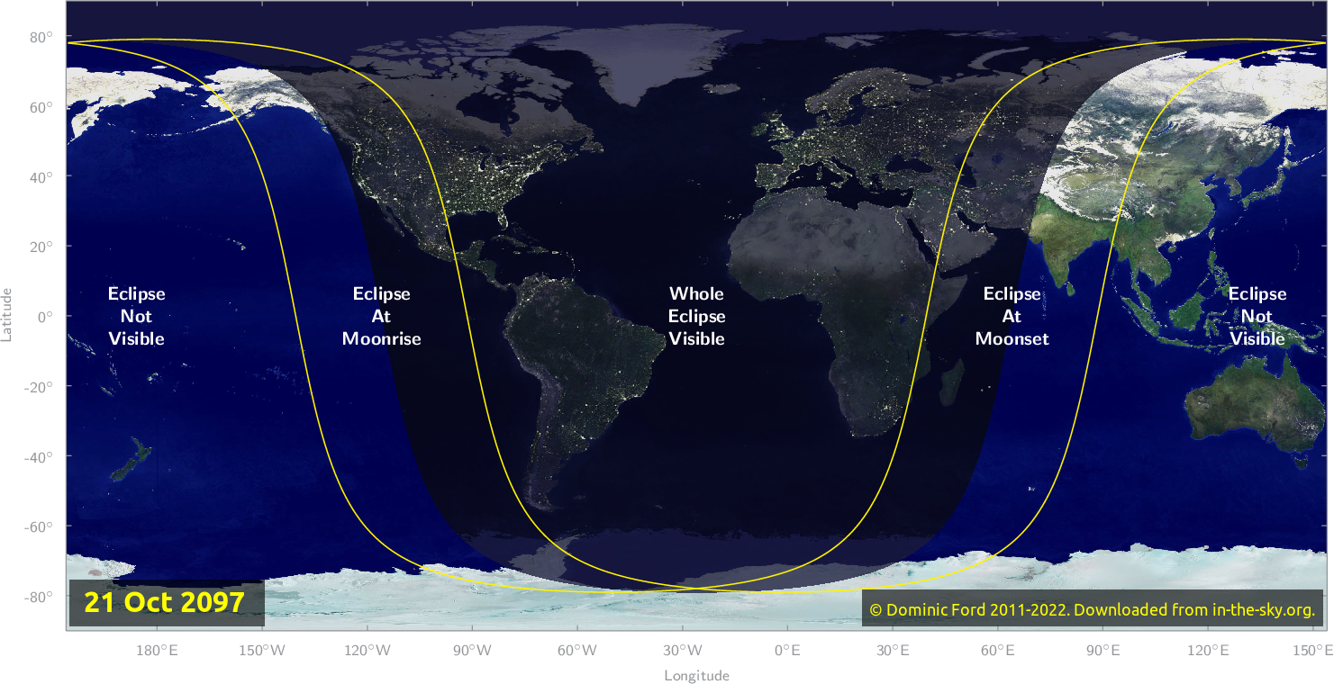Map of where the eclipse of October 2097 will be visible.