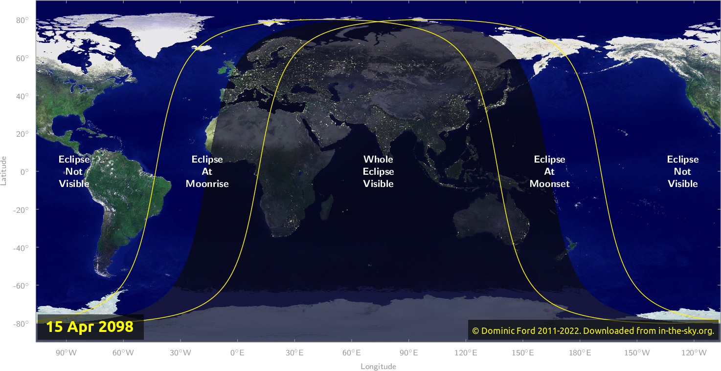 Map of where the eclipse of April 2098 will be visible.