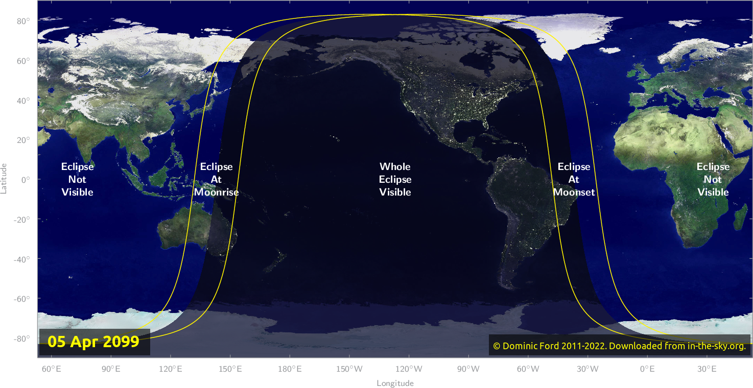Map of where the eclipse of April 2099 will be visible.