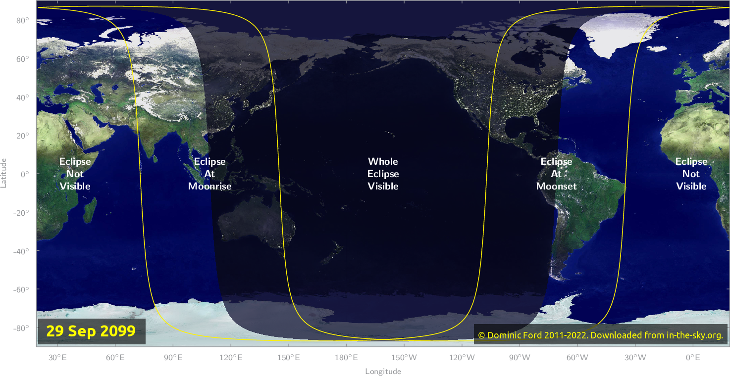Map of where the eclipse of September 2099 will be visible.