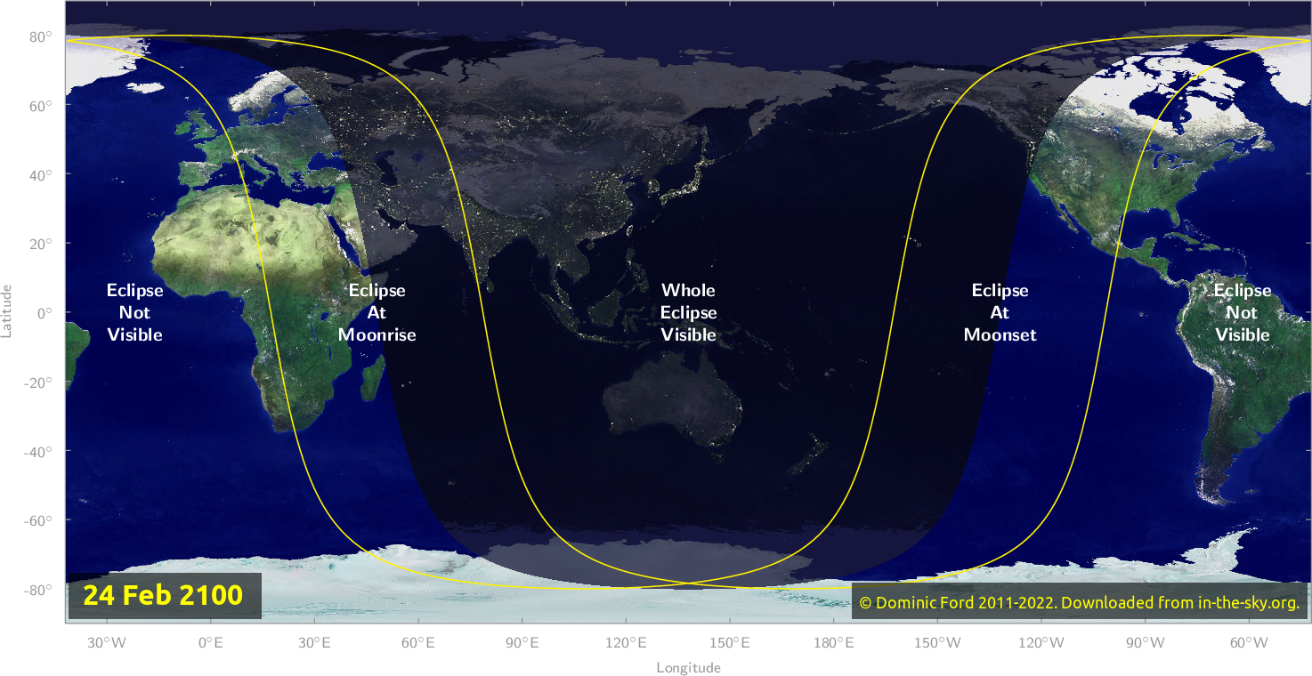 Map of where the eclipse of February 2100 will be visible.