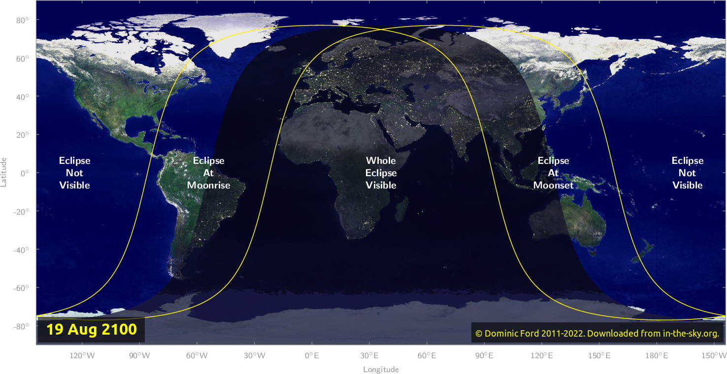 Map of where the eclipse of August 2100 will be visible.