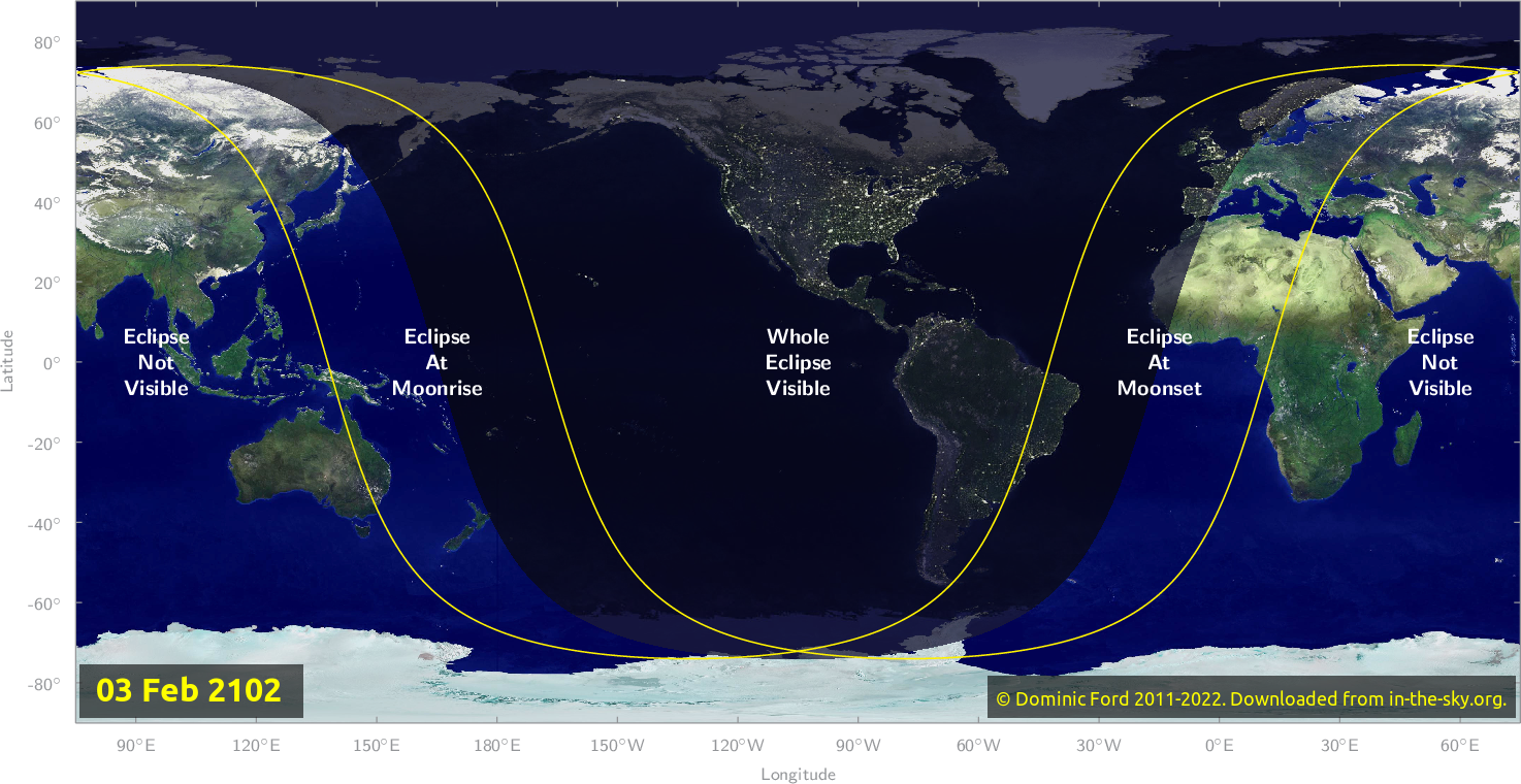 Map of where the eclipse of February 2102 will be visible.