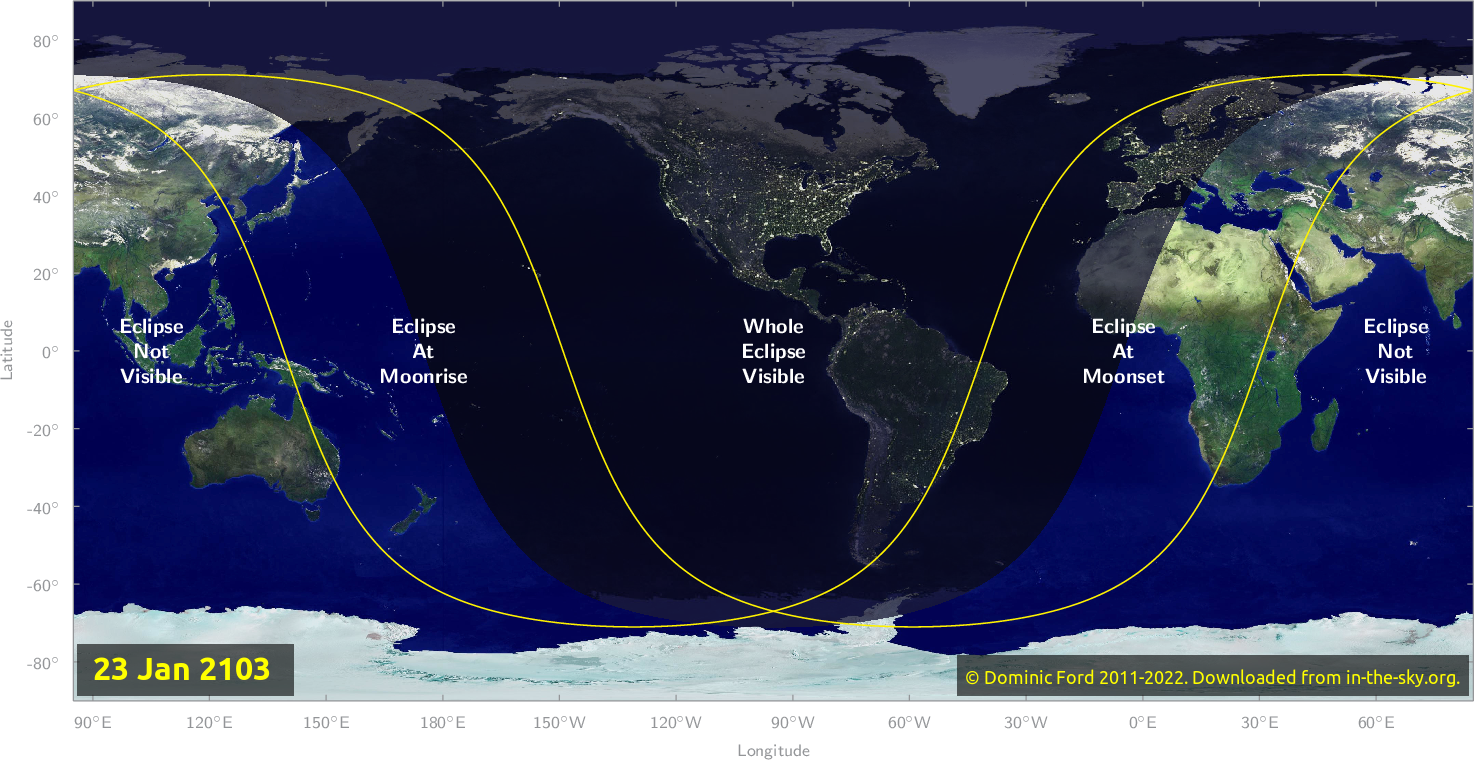 Map of where the eclipse of January 2103 will be visible.