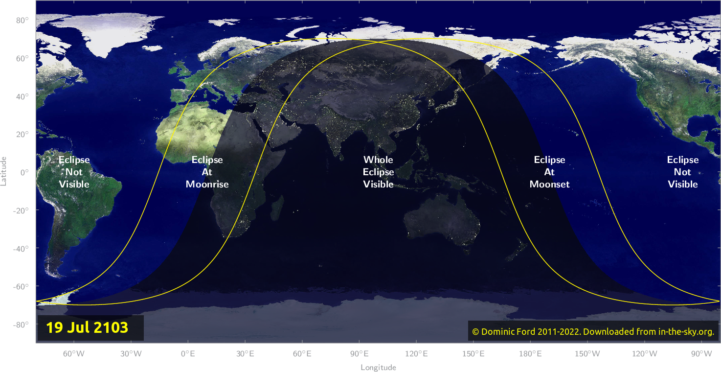 Map of where the eclipse of July 2103 will be visible.