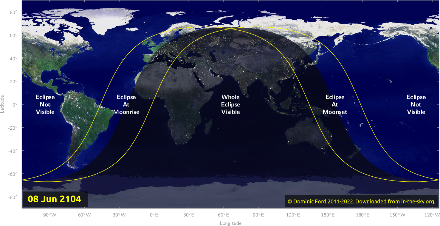 Map of where the eclipse of June 2104 will be visible.