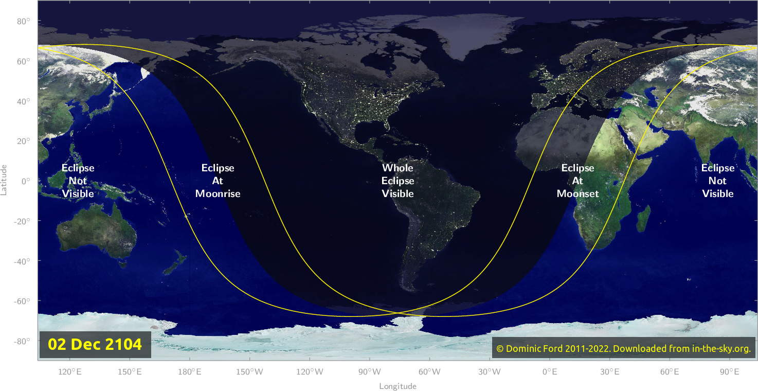 Map of where the eclipse of December 2104 will be visible.