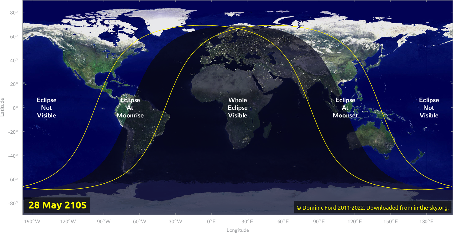 Map of where the eclipse of May 2105 will be visible.
