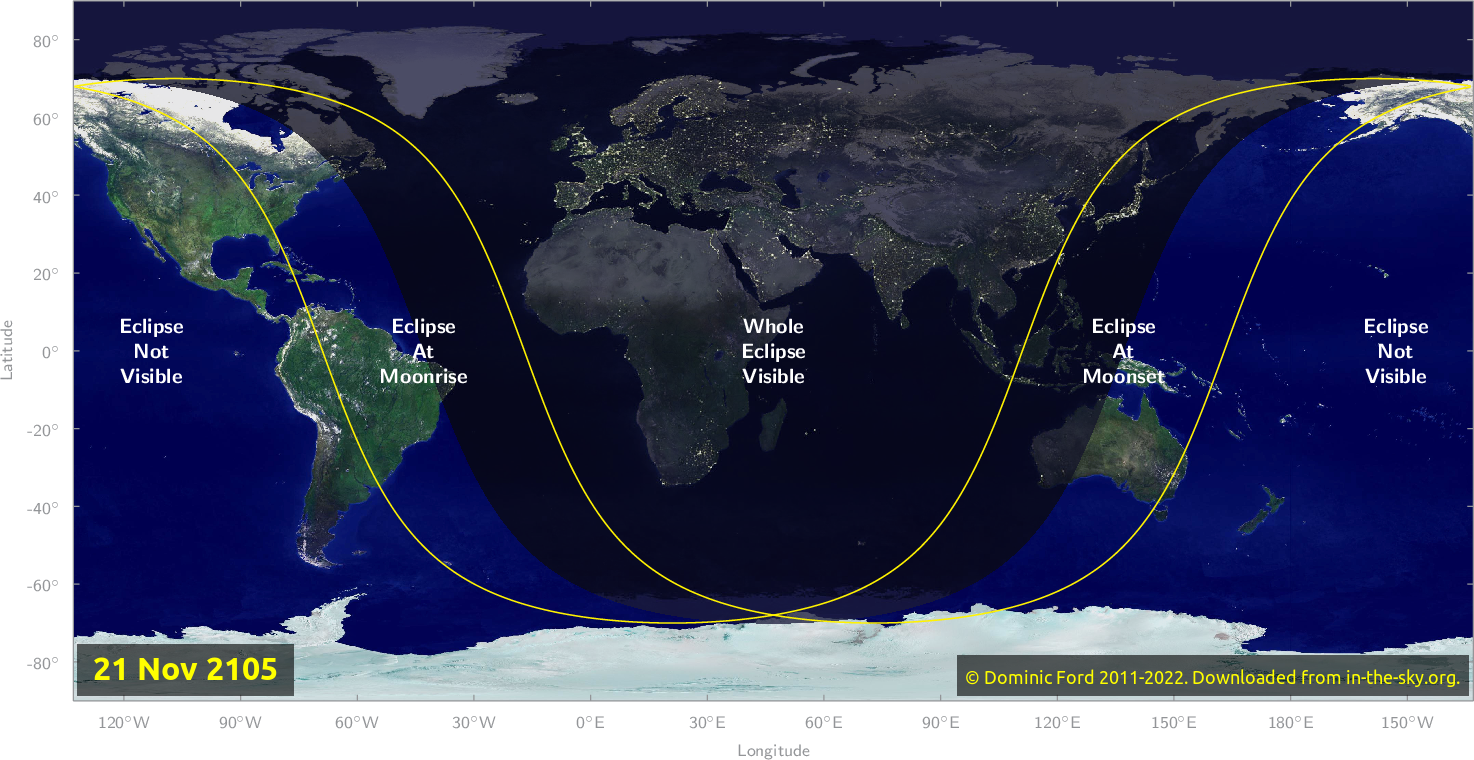 Map of where the eclipse of November 2105 will be visible.