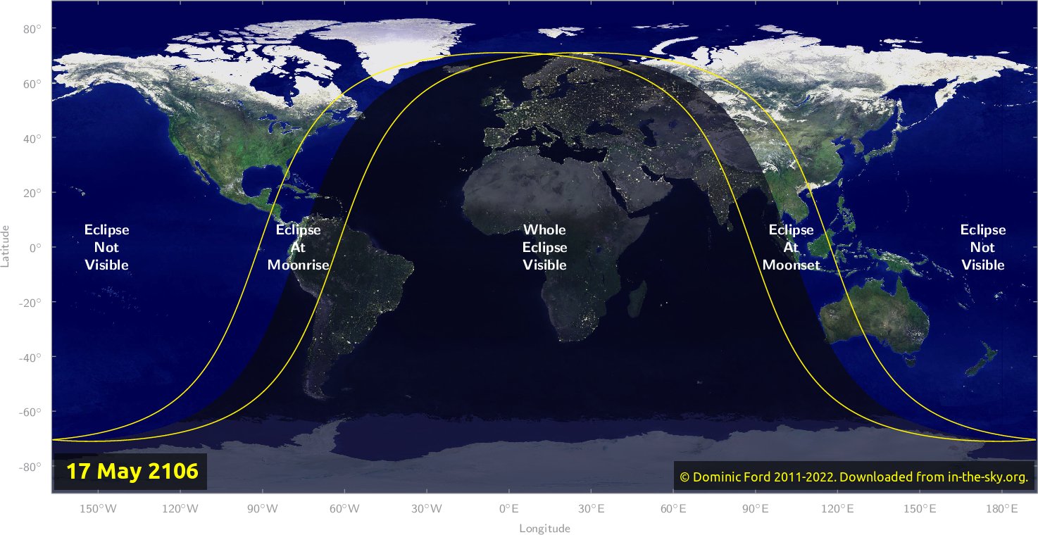 Map of where the eclipse of May 2106 will be visible.