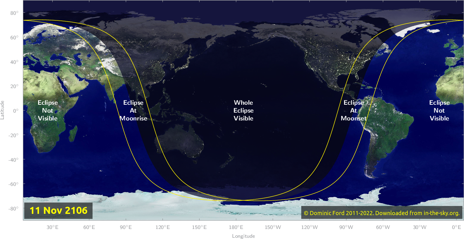 Map of where the eclipse of November 2106 will be visible.