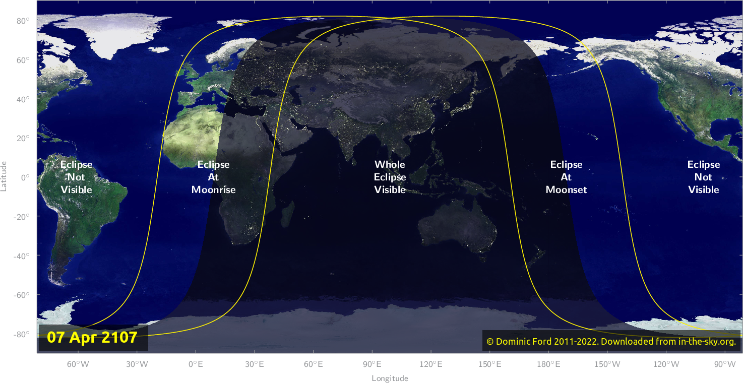 Map of where the eclipse of April 2107 will be visible.
