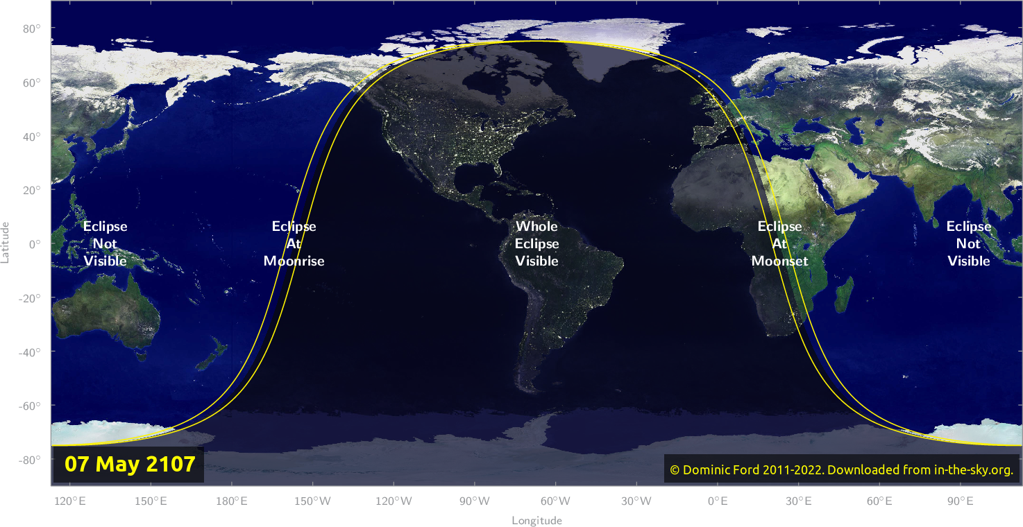 Map of where the eclipse of May 2107 will be visible.