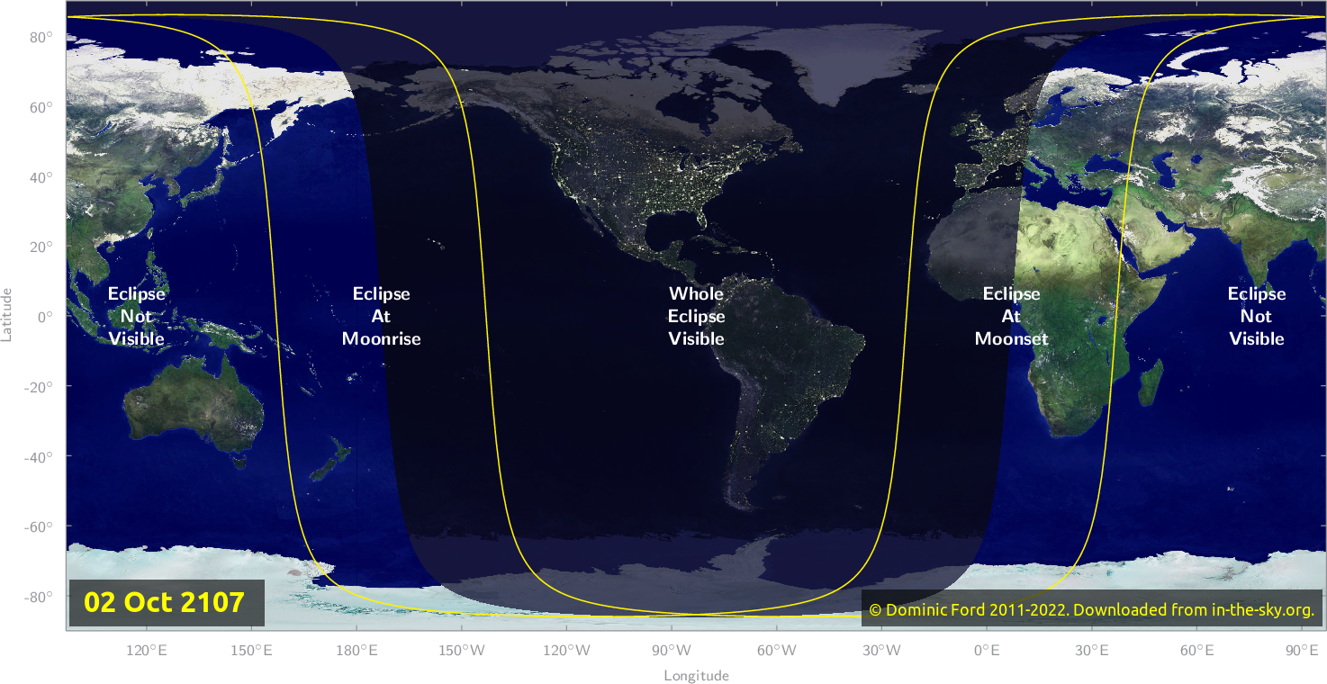 Map of where the eclipse of October 2107 will be visible.