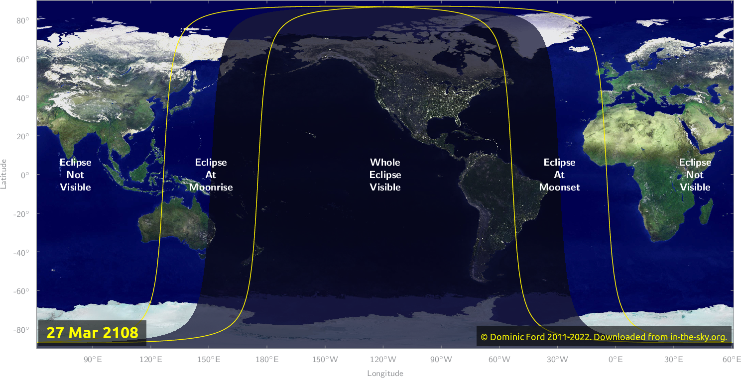 Map of where the eclipse of March 2108 will be visible.