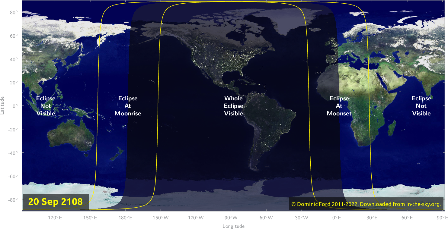 Map of where the eclipse of September 2108 will be visible.