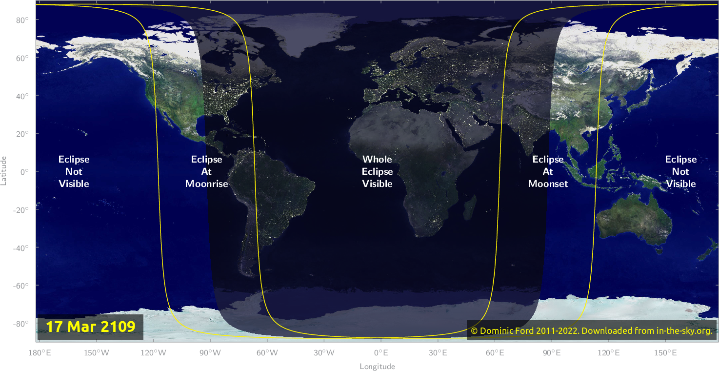 Map of where the eclipse of March 2109 will be visible.