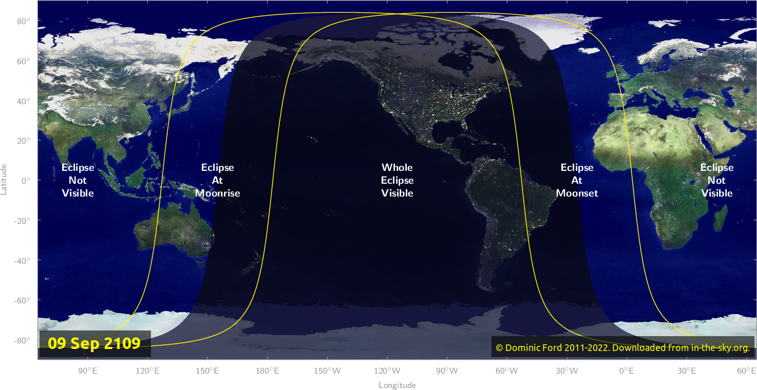Map of where the eclipse of September 2109 will be visible.