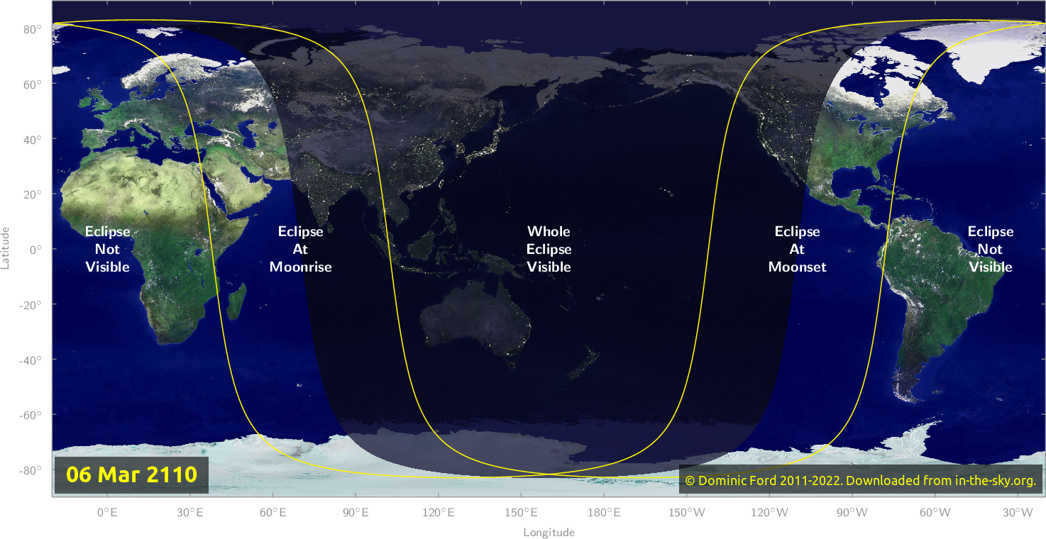 Map of where the eclipse of March 2110 will be visible.