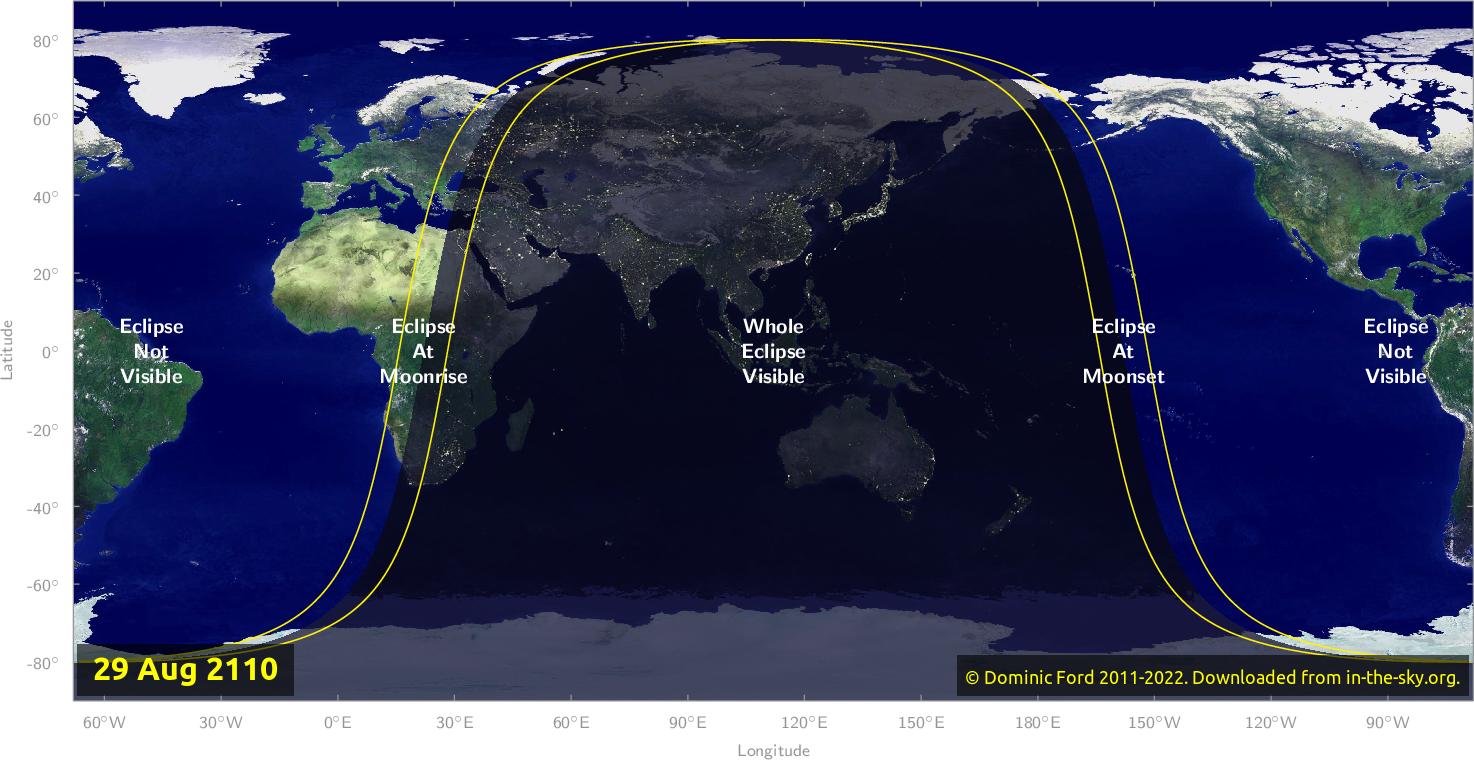 Map of where the eclipse of August 2110 will be visible.