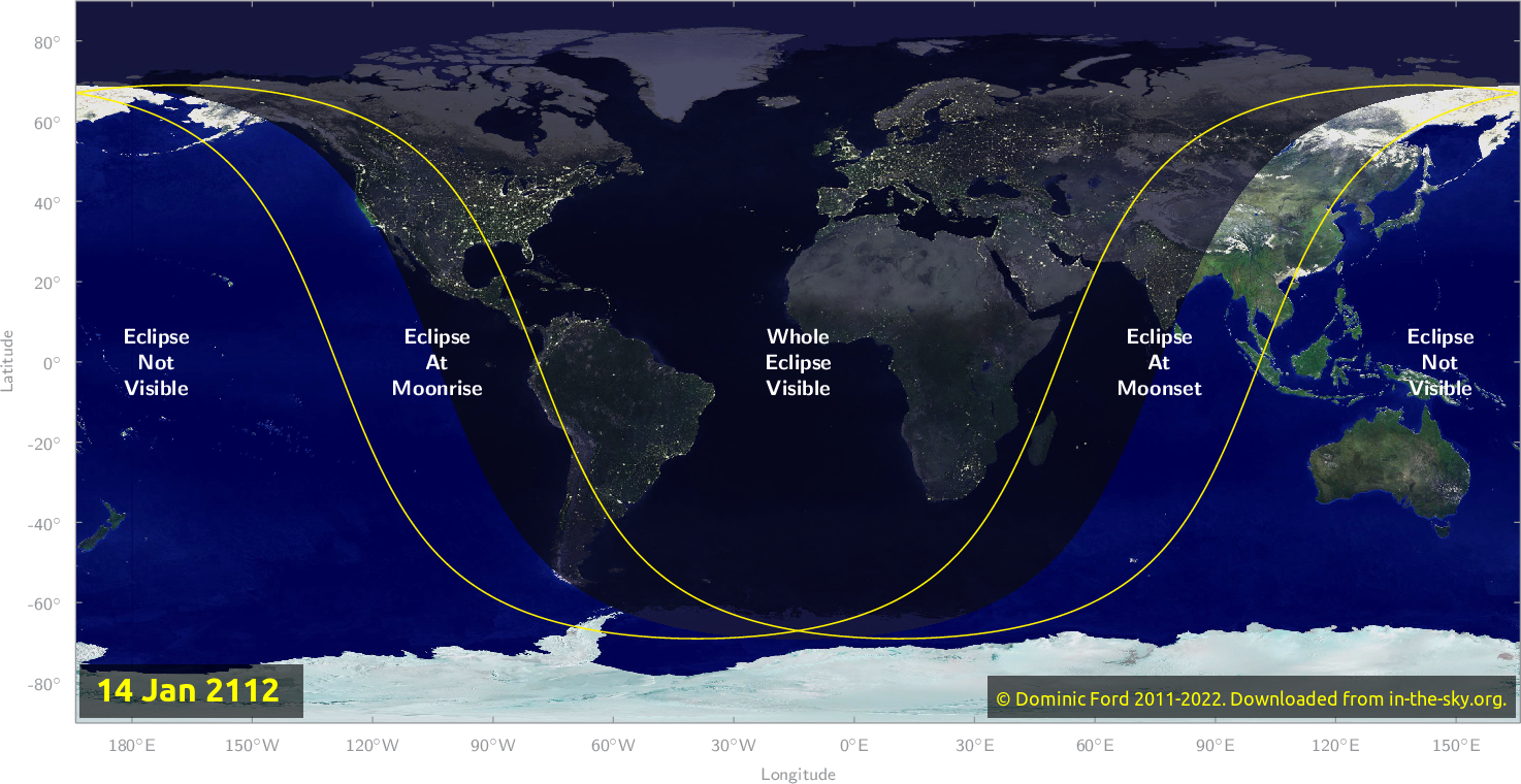Map of where the eclipse of January 2112 will be visible.