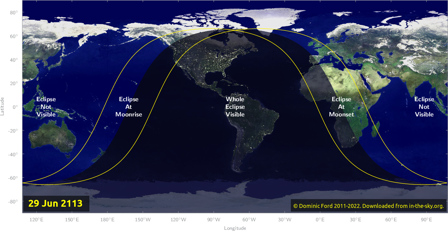 Map of where the eclipse of June 2113 will be visible.